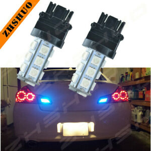 Pair 18 Smd Led 3157 Turn Signal Blinker Drl Parking Ice Light Blue Tint Bulbs