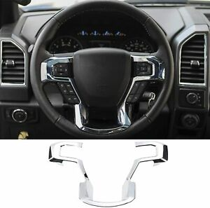Steering Wheel Trim Cover Abs Interior Kits Chrome For Ford F150 2015 2021 T