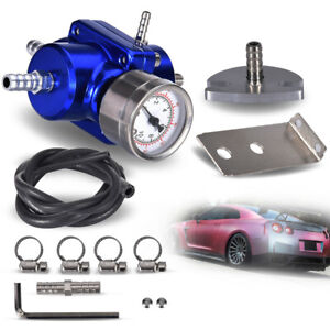 Universal Aluminum Adjustable 1 140 Psi Fuel Pressure Regulator Gauge Hose Blue