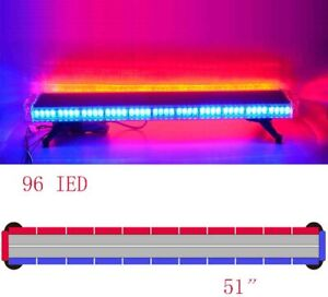 Red Blue 51 96 Led Emergency Beacon Warn Tow Truck Response Strobe Light Bar