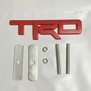 Red Trd Grill Badge Front Emblem 3d Car Metal Logo With Screw Fittings