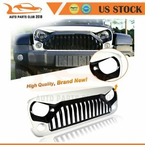 For 2007 2018 Jeep Wrangler Angry Bird Front Grille Grill Matte Black White Abs
