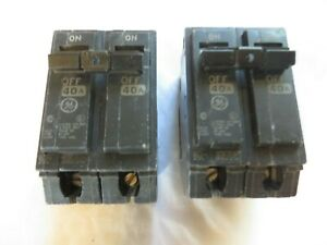 Circuit Breaker Ge General Electric 40 Amp 2 Pole Type Thql Tested Lot Of 2
