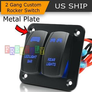 2 Gang 5pin Car Marine Boat Waterproof Rocker Switch Panel Circuit Breaker Blue