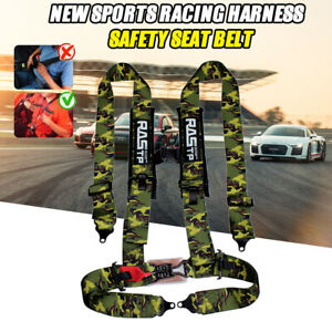 4 Point 3 Racing Style Harness Safety Seat Belt 4pt Camlock Quick Release Rastp