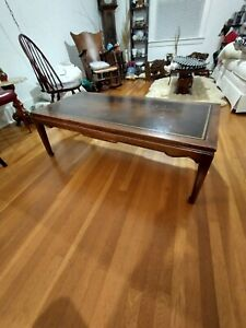 Vintage Antique Mid Century Mahogany Leather Top Coffee Table Possibly Weimans