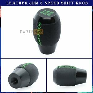 M12 X 1 25 Black Leather Green Stitching 5 Speed Manual Shift Knob For Ford