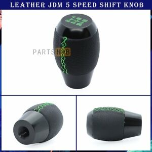 Jdm M10 X 1 25 Black Leather Green Stitching 5 Speed Manual Shift Knob For Mazda