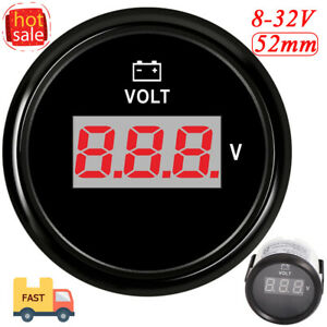52mm Digital Voltmeter Voltage Display Meter Gauge 8 32v Boat Marine Waterproof