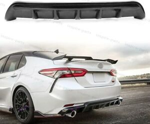 For 2018 2019 Toyota Camry Se Xse Gt Shark Fin Glossy Black Rear Bumper Diffuser