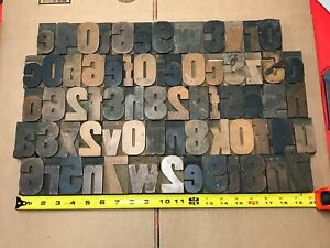 2 5 Inch Set Letterpress Print Type Wood Letters And Numbers 68 Pieces