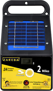 2 Mile Range Solar Low Impedance Electric Fence Charger Small Animals 4 Volt New
