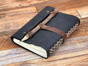 7x5 Handmade Leather Journal Diary Writing Notebook Sketchbook With Wood Pen