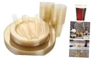 150 Pieces Gold Disposable Plates Plastic Silverware Cups Gold Gold