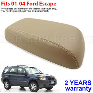 Fits 2001 2004 Ford Escape Leather Center Console Lid Armrest Cover Beige Tan