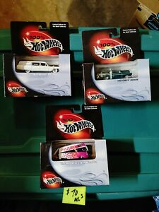 100 Hot Wheels Lot Of 3 1963 Cadillac Fleetwood Vw Microbus 1957 Chevy Nomad
