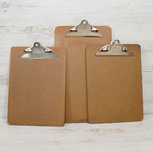 3 Vintage Chipboard Clipboards With Metal Clips Office Work Desk