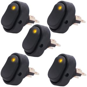 Twidec 5pcs Waterproof Led Lighted Rocker Switch Toggle 12v 30a Spst 3 Pin On of