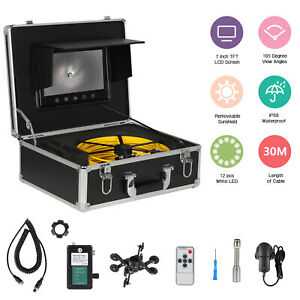 7 lcd 30 Meters Sewer Waterproof Camera Pipe Pipeline Drain Inspection System