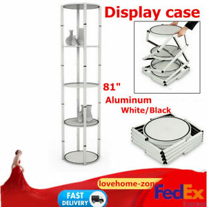 81 Round Aluminum Twister Tower Counter Display Case Five layer top Led Light
