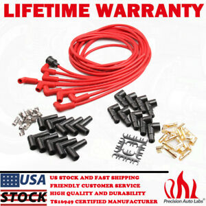 Universal Spark Plug Wire Set For Chevy Dodge Plymouth Gmc V8 90 Degree Boots