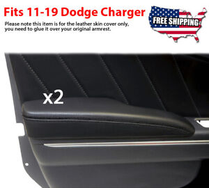Fits 2011 2019 Dodge Charger Door Panel Armrest Leather Synthetic Cover Black