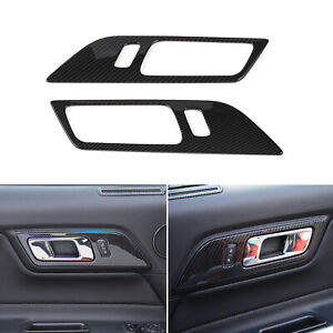 Carbon Fiber Door Handle Switch Trim Cover For Ford Mustang Accessories 15 19 T