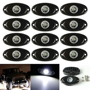 12x 9w White Led Rock Light For Jeep Suv Atv Offroad Truck Boat Underbody Lamps