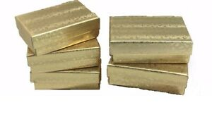 Lot Of 5 Tiny Gold Foil Cotton Filled Jewelry Gift Boxes Christmas Stocking