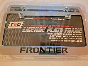 2 New Nissan Frontier Chrome Metal License Plate Frame With Screw Covers