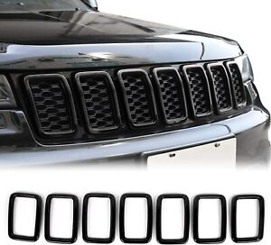 Grille Inserts Abs Grill Cover Trim Kit For 2017 19 Jeep Grand Cherokee Black A