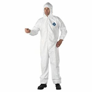 Dupont Ty127s White Tyvek Disposabl Coverall Bunny Suit Hood Ewa Size M 5xl