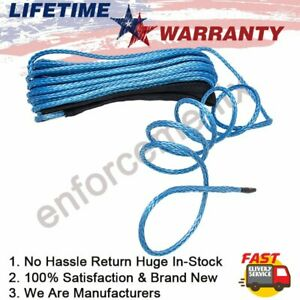1 4 X50 10000lbs Synthetic Winch Rope Line Recovery Cable W Sheath 4wd Atv Utv