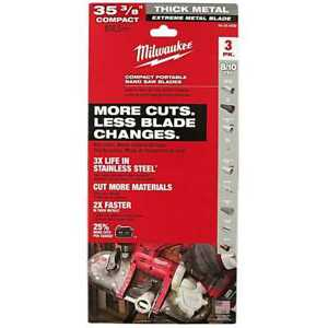 Milwaukee 48 39 0609 Compact Portable Band Saw Blades 35 3 8 3 Pack New