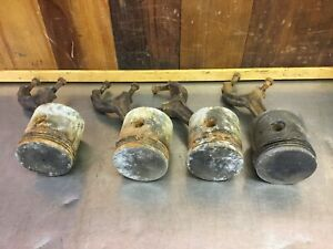 Triumph Tr3 Tr4 Set Of 4 Pistons Connecting Rods For Parts Only T1816