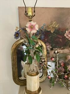Vintage Italian Tole Lamp W Mixed Flowers 25 H Excellent Pink Blue White