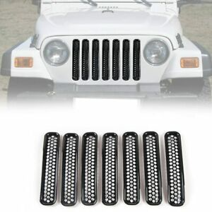 7pcs Honeycomb Mesh Front Grill Inserts Kit For 1997 2006 Jeep Wrangler Tj T