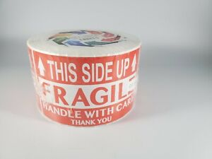 Fragile This Side Up Handle With Care Thank You Red Warning Label Stickers 500ct
