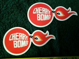Lot Of 2 Classic Cherry Bomb Glass Pack Muffler Decals Stickers Rat Hot Rod