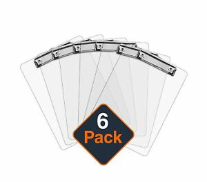 Plastic Clipboards set Of 6 Transparent Clipboard clear Strong 12 5 X 9 I
