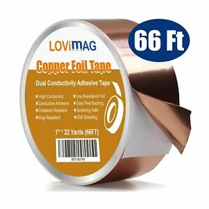Copper Foil Tape 1inch X 66 Ft With Conductive Adhesive For Guitar Emi Sh