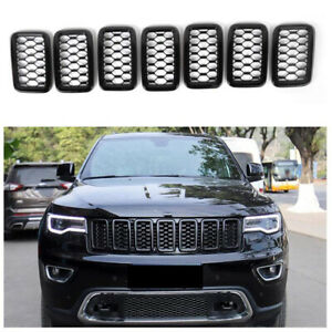 7pcs Front Grill Mesh Rings Covers Inserts For 2017 Jeep Grand Cherokee Black T
