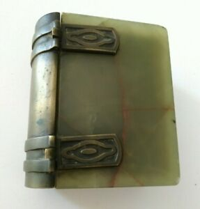 Antique Germany Marble Brass Book Safe Humidor Jewelry Trinket Box Vintage