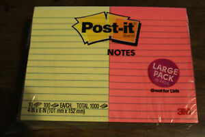 Post it Super Sticky Notes 4 X 6 Multi Color Yellow Lined Pack Of 10 Pads