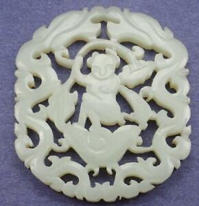 Antique Chinese 19th C Carved White Jade Boy Dragon Lotus Pendant Plaque Qing