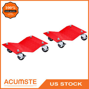 2pcs Auto Dolly Car Dolly Wheel Tire 12 X16 Vehicle 3000 Lbs Repair Slide Red