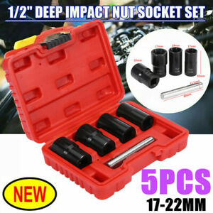 5pcs Deep Impact Socket Set 1 2 Drive Metric Axle Hub Nut Socket 29 38mm W Case