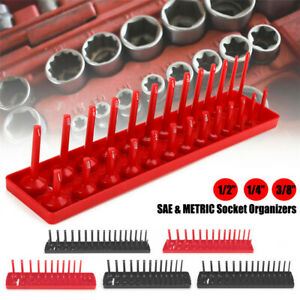 6pc Socket Organizer Tray Sae Metric 1 4 3 8 1 2 Drive Deep Shadow Socket Holder