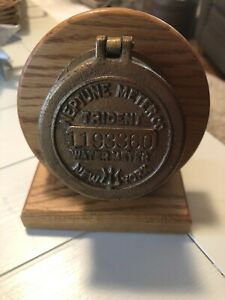 Mounted Vintage Brass Neptune Company Water Meter Trident New York With Clock