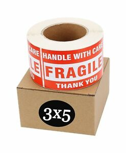 Sjpack Fragile Stickers 3 X 5 1 Roll 500 Labels Fragile Handle With Car